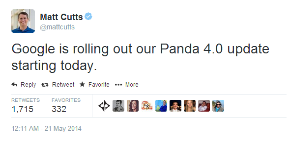 Matt Cutts Panda 4.0 Tweet