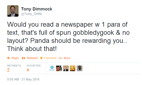 Tony Dimmock Tweet