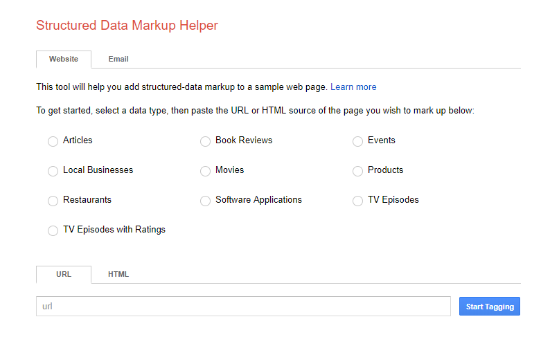 Google structured data mark-up helper