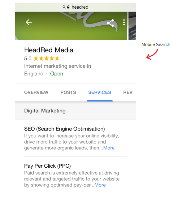Mobile Search HeadRed Google My Business listing