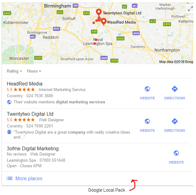 Google Local Pack example - HeadRed